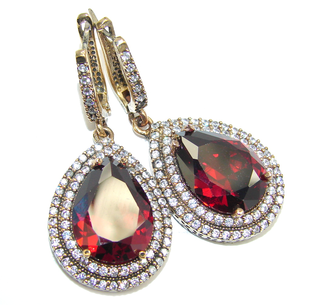 Big! Victorian Style Created Red Garnet & White Topaz Sterling Silver earrings