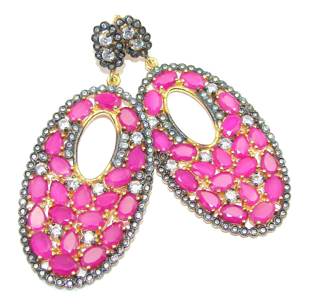 Large! Stunning Pink Ruby & White Topaz, Gold Plated Sterling Silver earrings