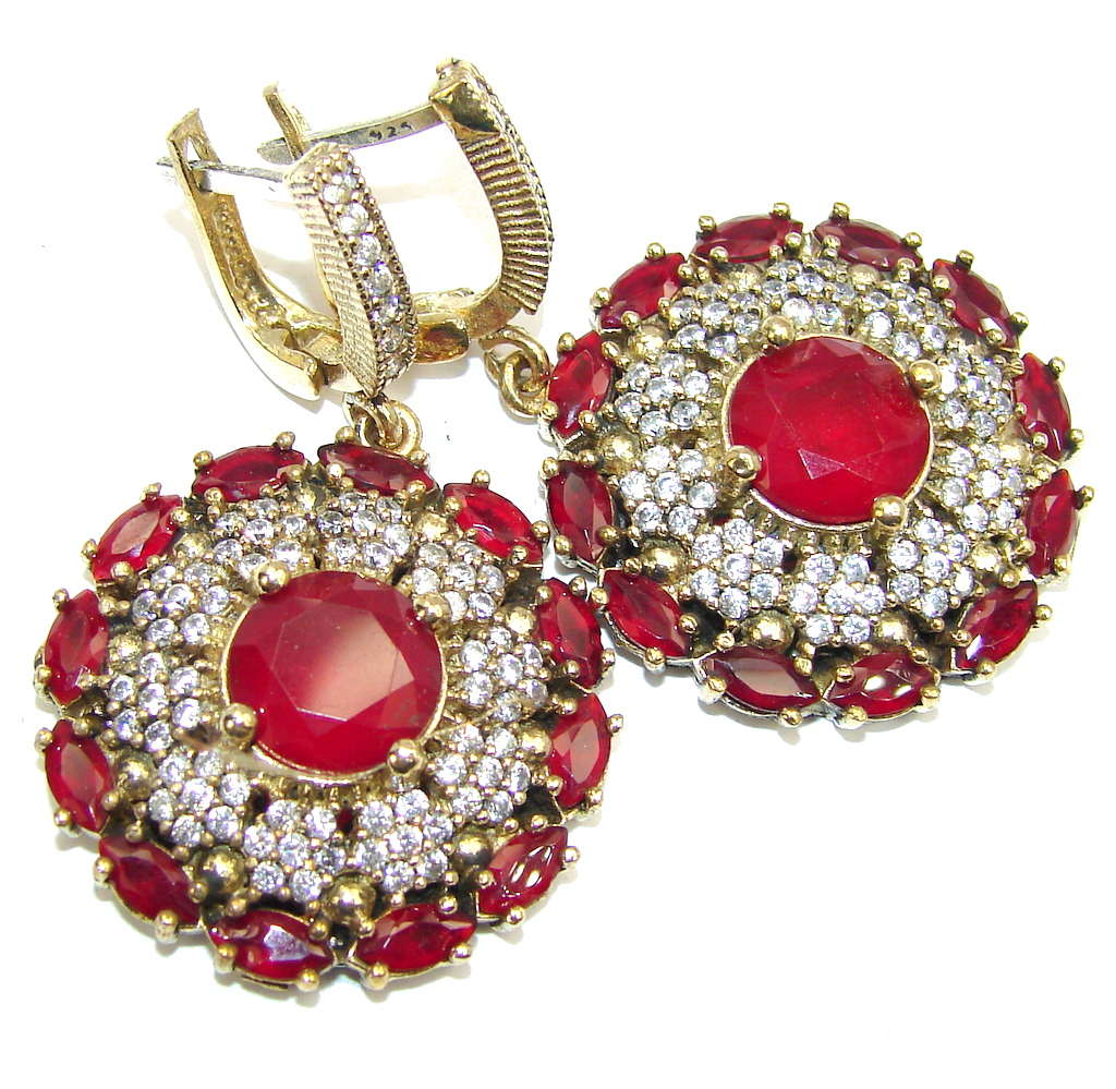 Big Victorian Style Created Red Garnet Sterling Silver earrings
