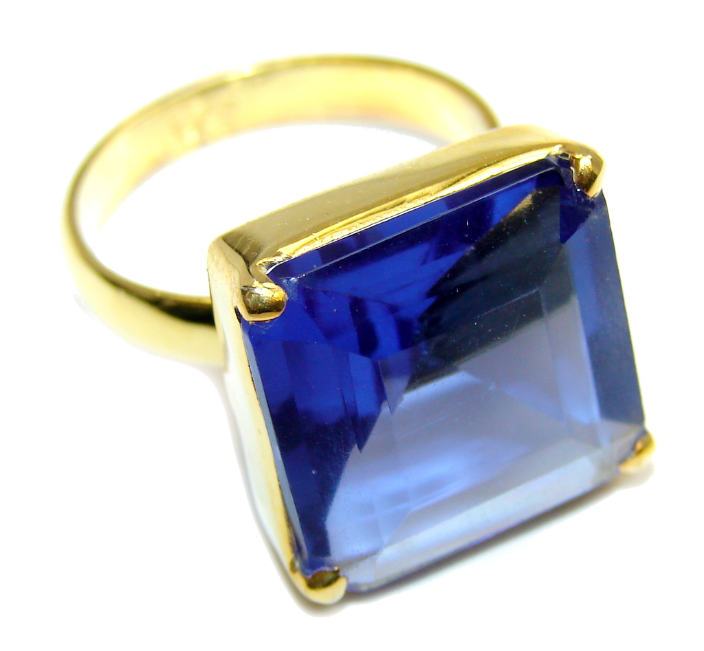 Delicate created Sapphire Gold Plated Sterling Silver ring s. 7