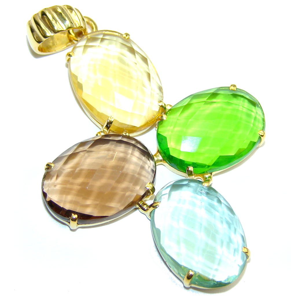 Amazing Multicolored Quartz Gold plated over Sterling Silver  Pendant