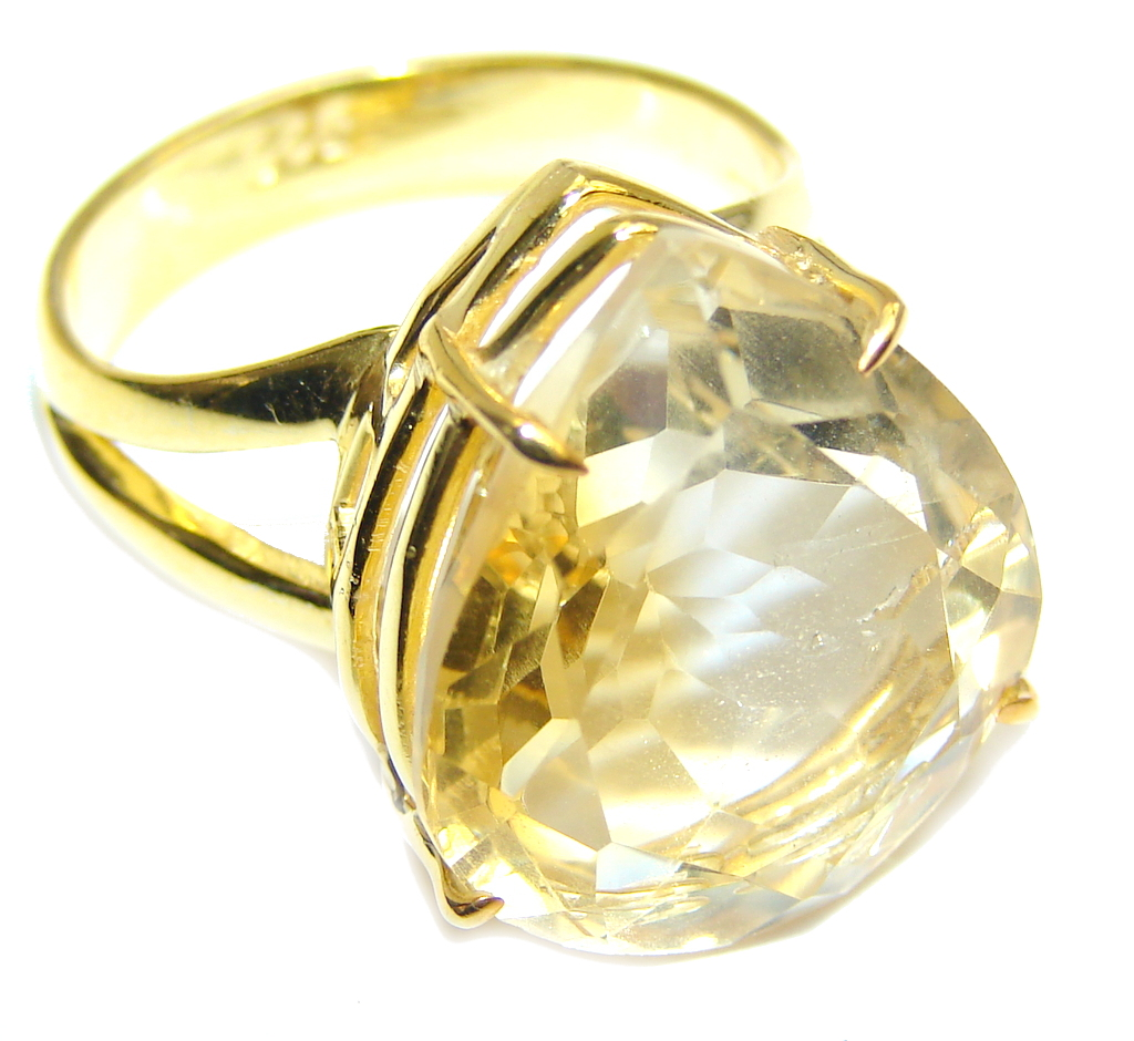 Amazing Genuine Citrine Gold Plated Sterling Silver ring s. 8 1/2