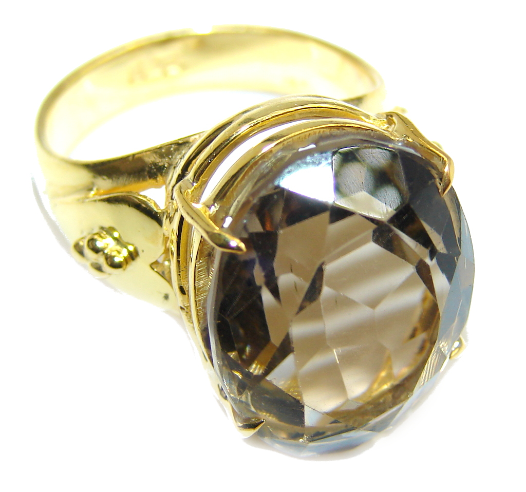 Amazing Genuine Citrine Gold Plated Sterling Silver ring s. 7