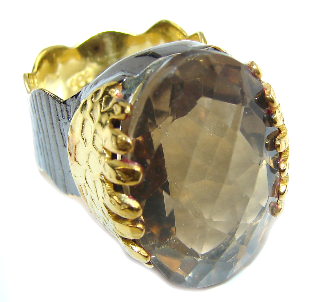 Beautiful Champagne Smoky Topaz Gold Rhodium plated Sterling Silver Ring s. 6