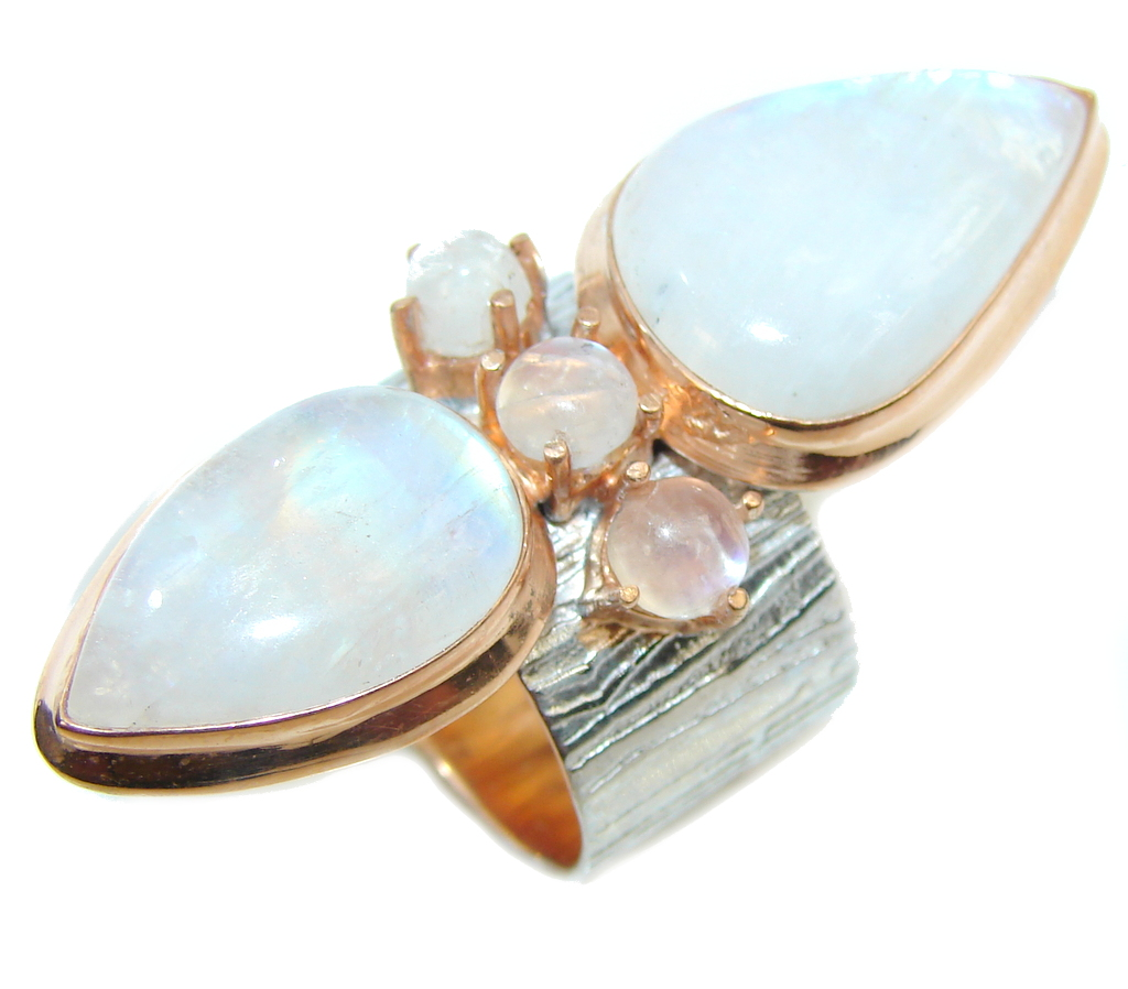 Giant Chunky White Moonstone Rose Gold over Sterling Silver Ring s. 8