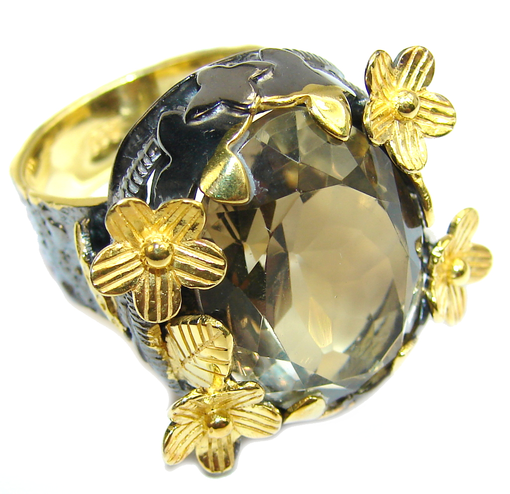 Beautiful Garden Champagne Topaz Gold Rhodium plated Sterling Silver Ring s. 8