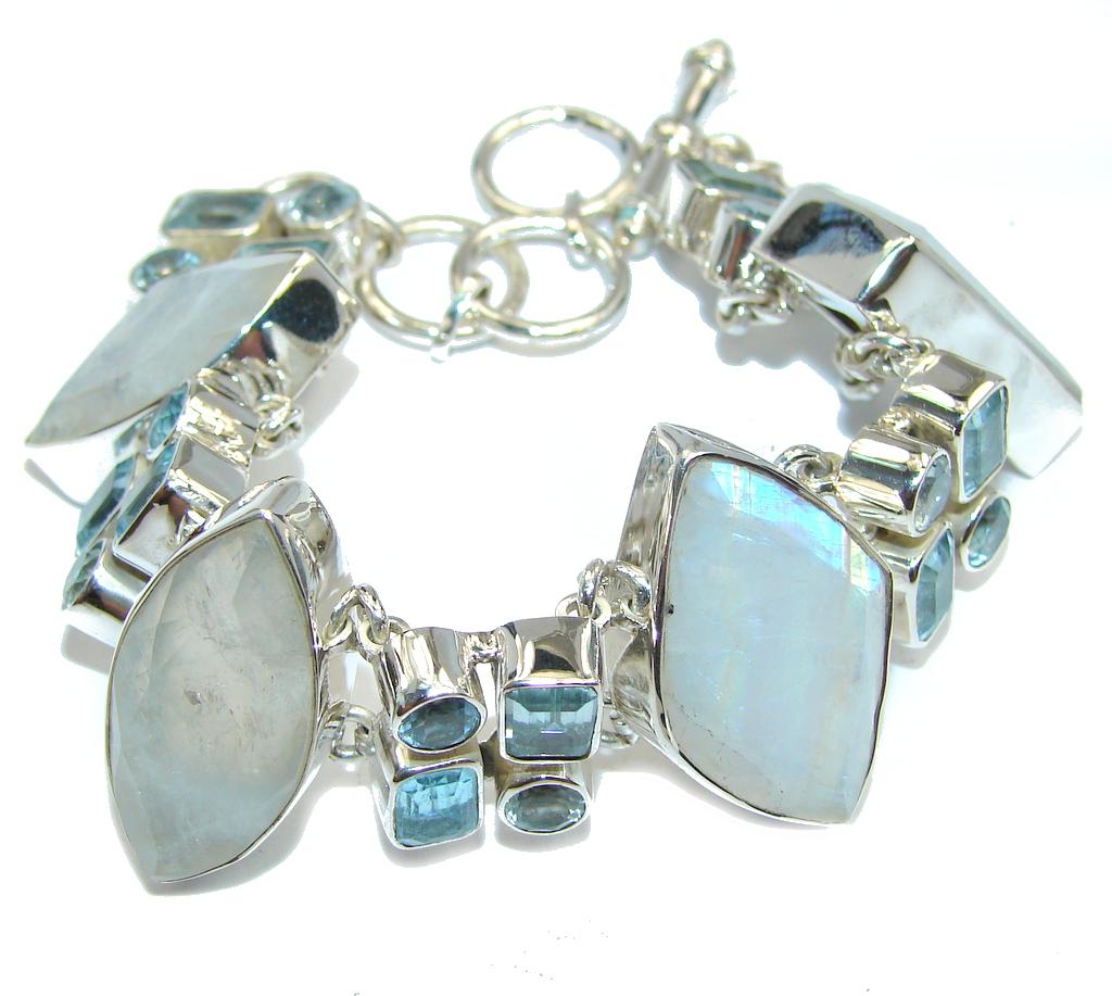 Amazing AAA Blue Larimar & Moonstone & Sterling Silver Bracelet