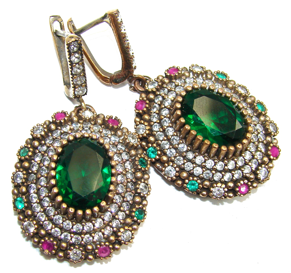 Victorian Style Created Emerald & White Topaz Sterling Silver earrings