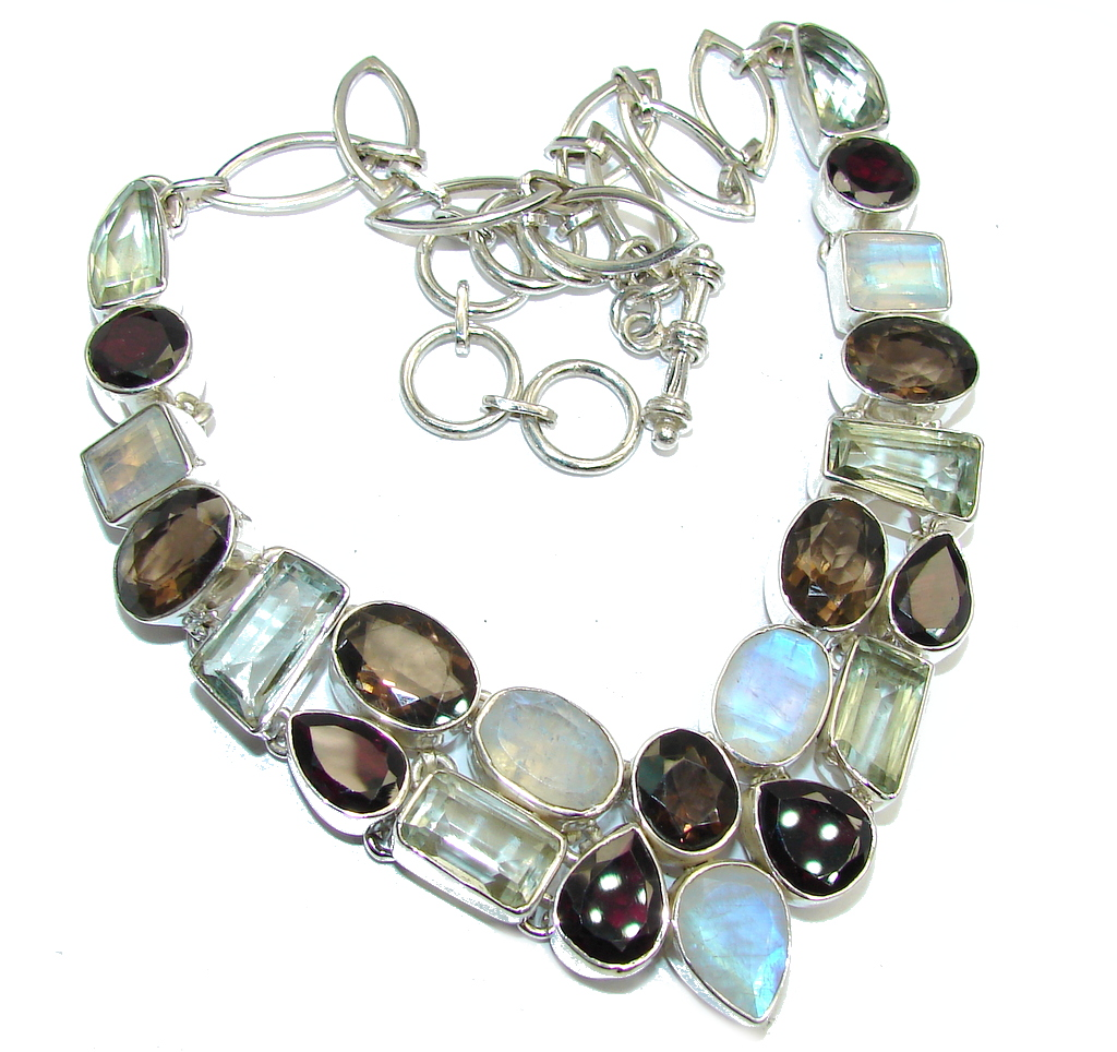 Beautiful  Smoky Topaz Moonstone Sterling Silver necklace