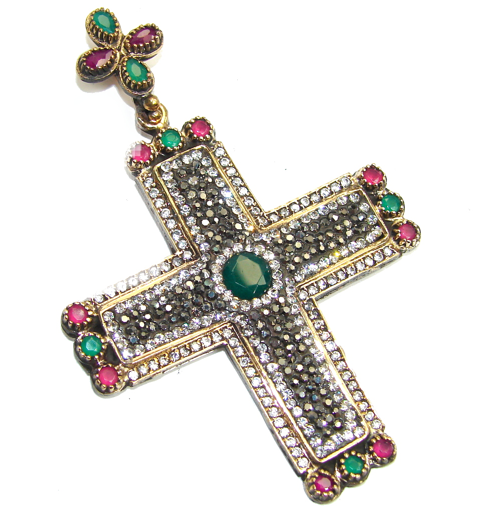 Big! Victorian Style Spinel Red Ruby & White Topaz Sterling Silver Pendant / Cross