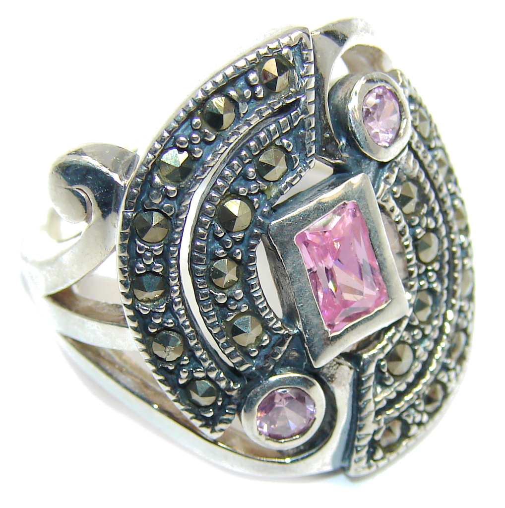 marcassite.com view the photo of  Pink Cubic Zirconia & Marcasite Sterling Silver Ring s. 6