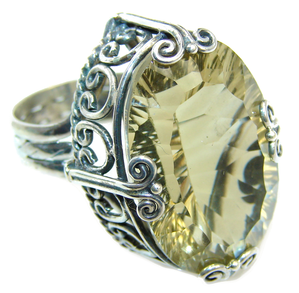Big!  Golden Galaxy Topaz Sterling Silver Ring s. 6 3/4