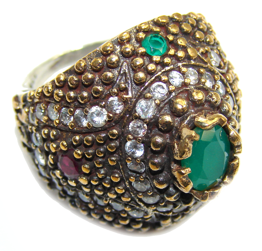 Perfect Green Emerald Sterling Silver Ring s. 7 1/4