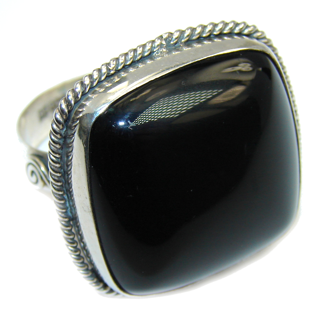 Amazing AAA Black Onyx Sterling Silver ring s. 9 1/2