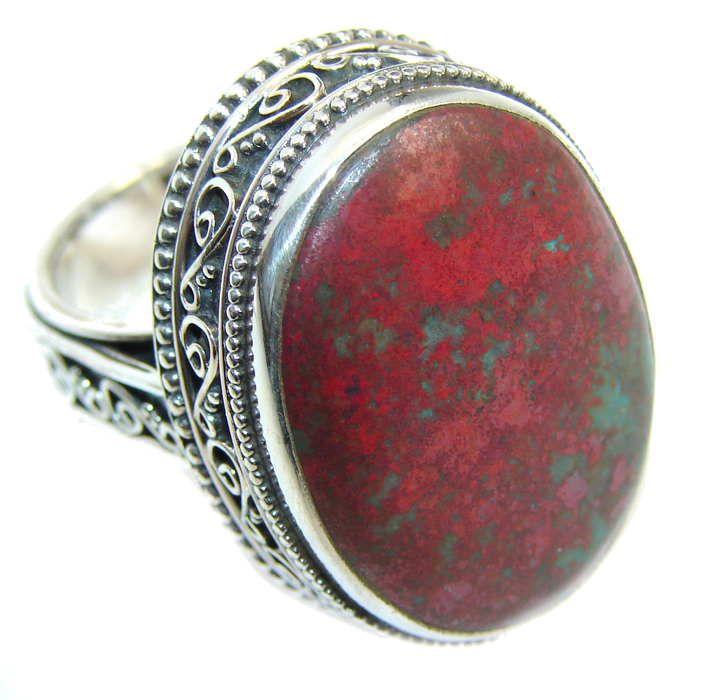 Big Perfect Red Sonora Jasper  Sterling Silver Ring s. 8