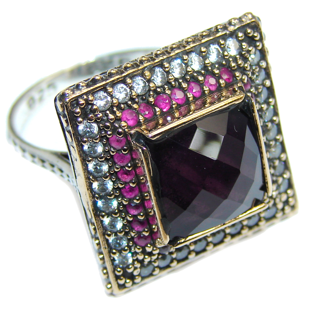 Amazing AAA Purple Quartz  Sterling Silver ring s.  8 1/2