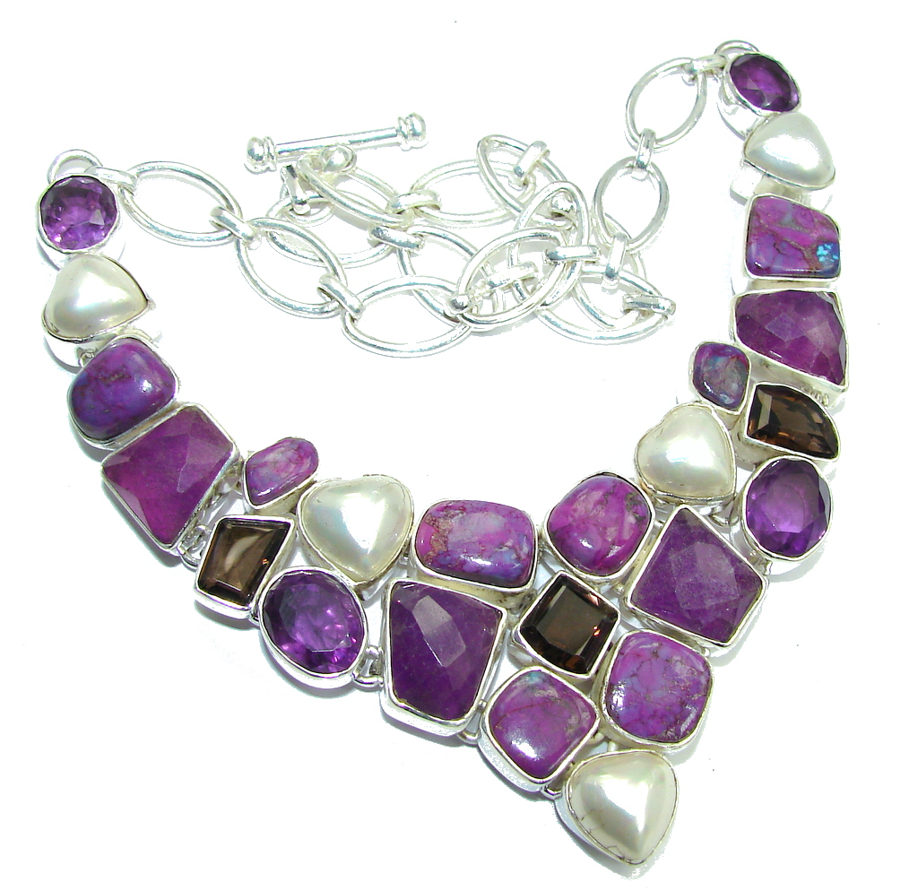 Path Of Life Purple Turquoise Amethyst Sterling Silver Necklace
