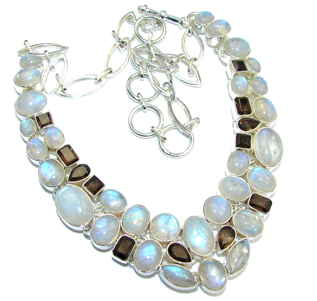 AAA quality White Fire Moonstone & Smoky Topaz Sterling Silver necklace