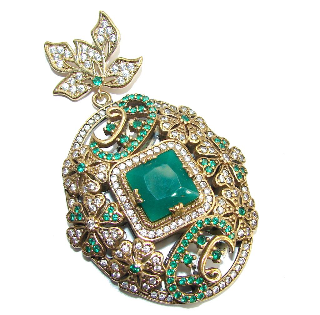 Big Victorian Style Emerald & White Topaz Sterling Silver Pendant
