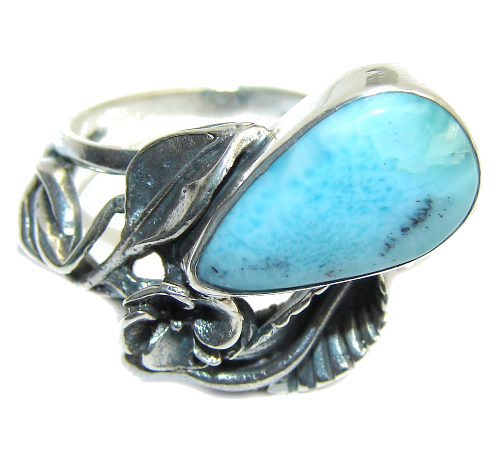 Always Together Blue Larimar  Sterling Silver Ring s. 8