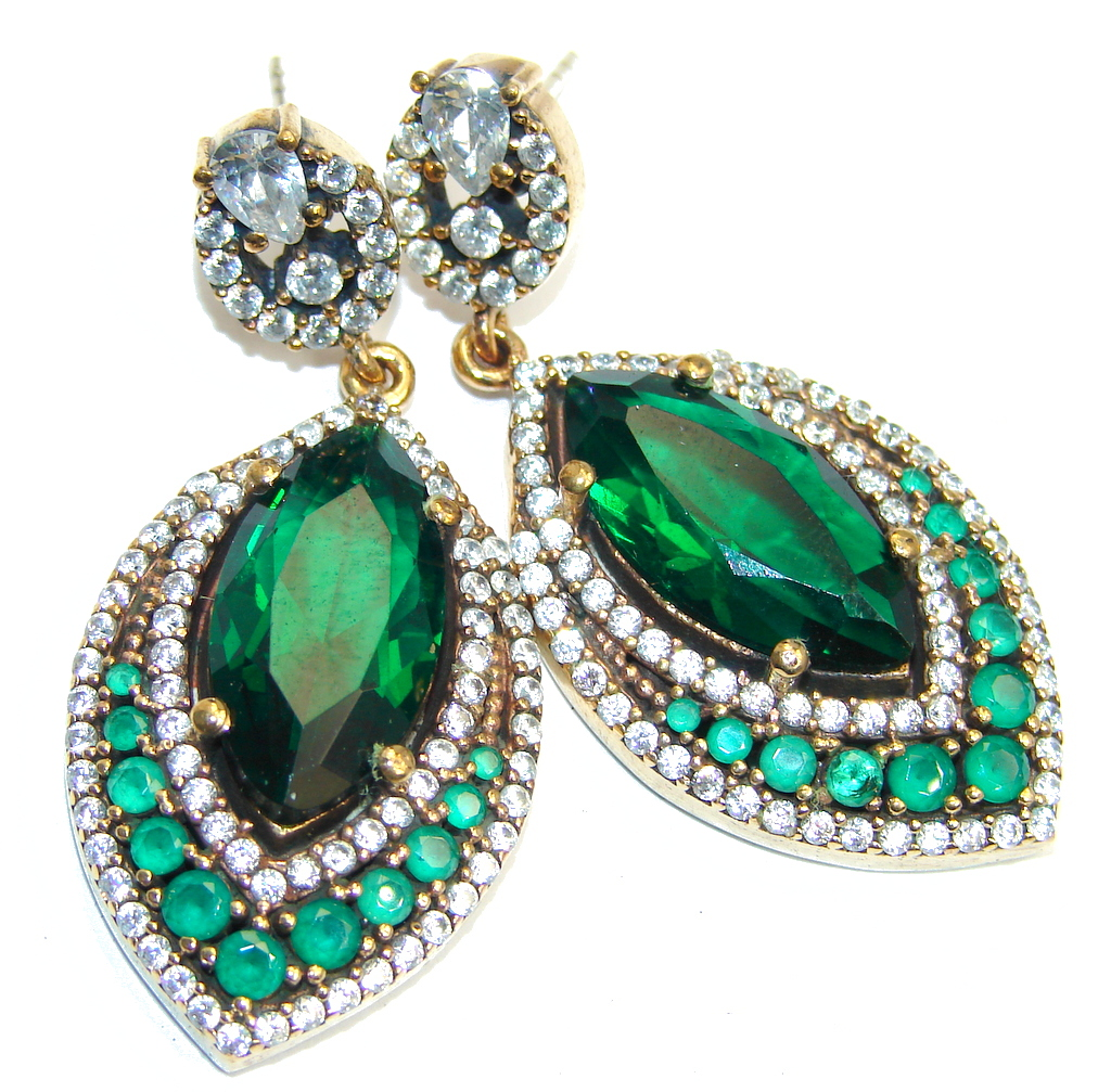 Big Victorian Style Created Emerald & White Topaz Sterling Silver earrings