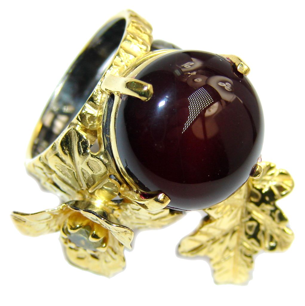 Secret Beauty AAA Black Onyx  Gold & Rhodium Plated Sterling Silver ring s. 6