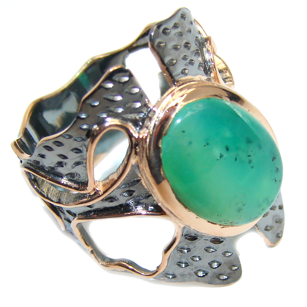Gorgeous AAA Green Chrysophrase, Gold Plated, Rhodium Plated Sterling Silver Ring