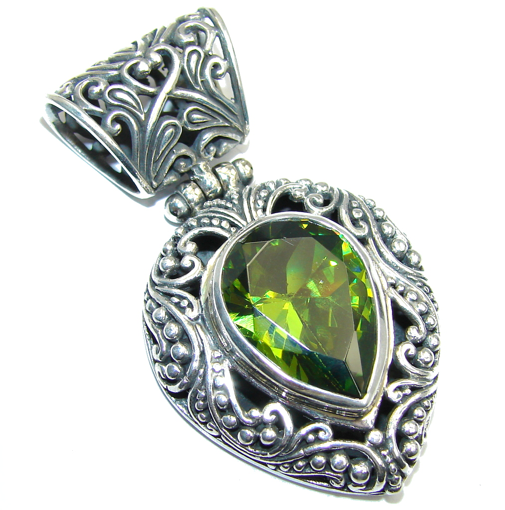 Big! Bali Secret Peridot  entirely handcrafted Sterling Silver Pendant