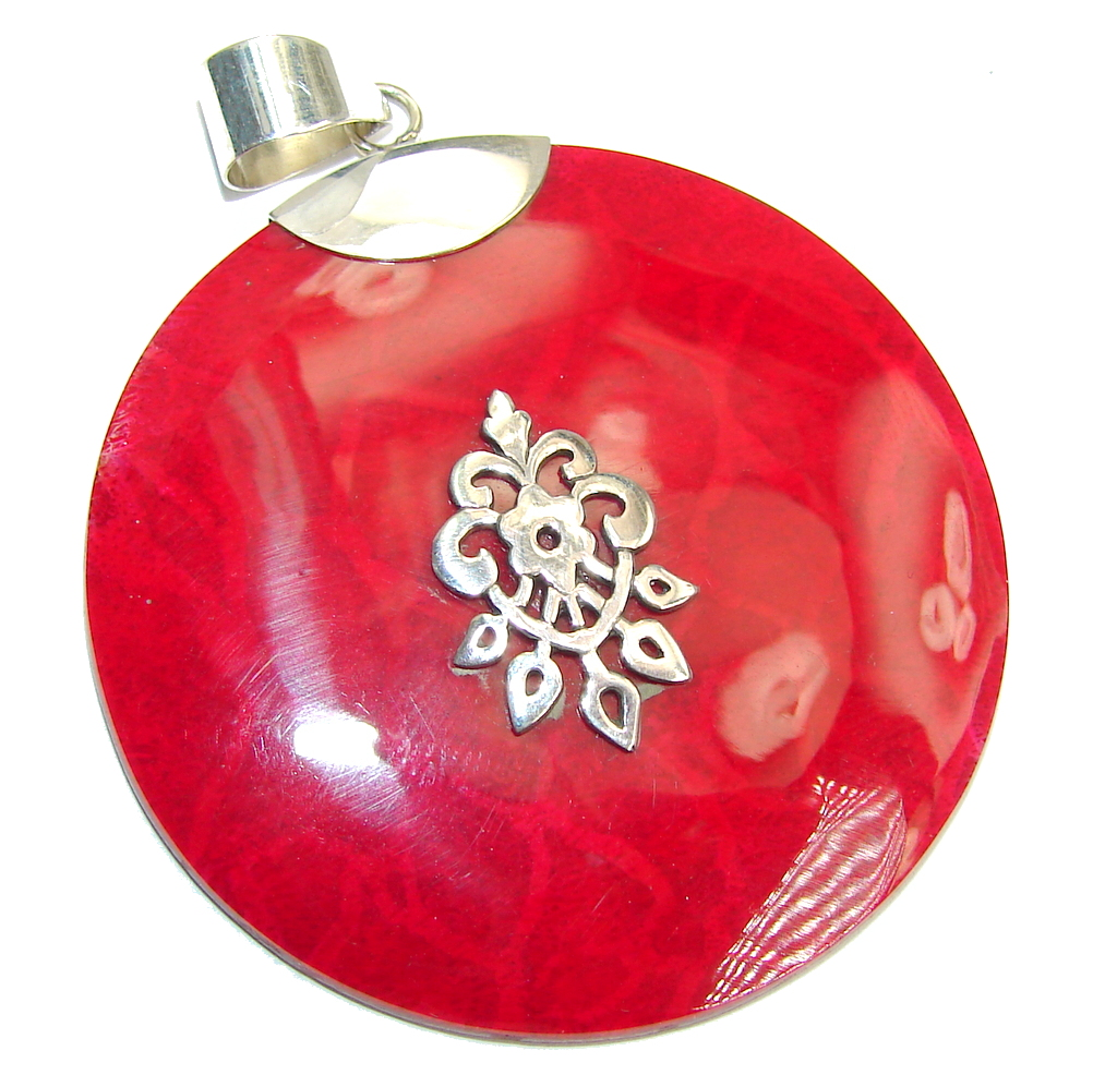 Big! Red Fossilized Coral Sterling Silver pendant