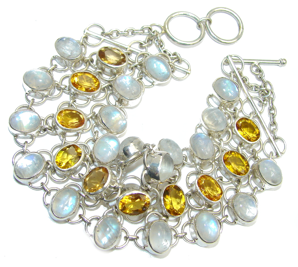 Amazing AAA faceted Citrine & Moonstone & Sterling Silver Bracelet
