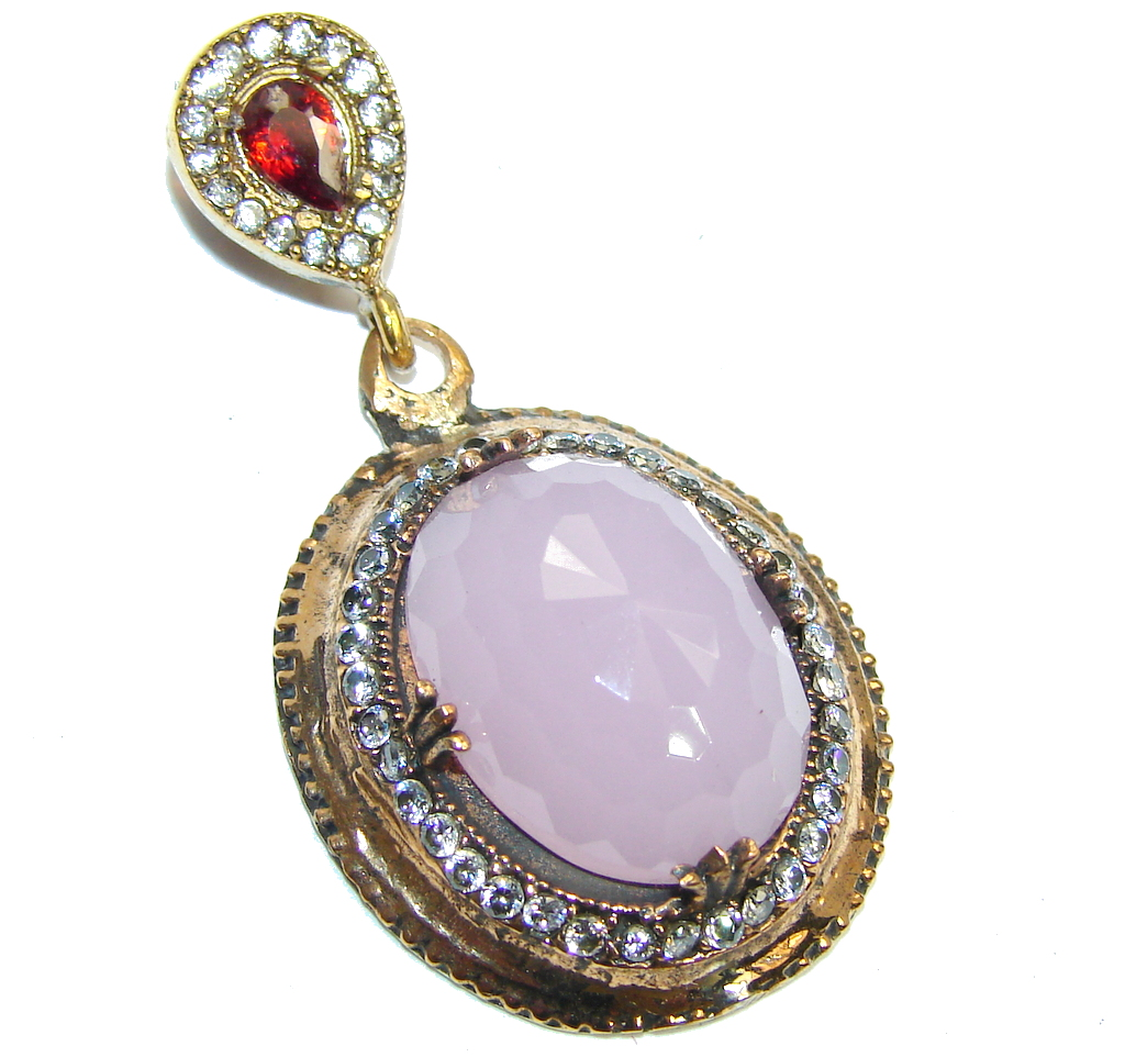 Magic Rosy Quartz partially Rose Gold Plated Sterling Silver  Pendant