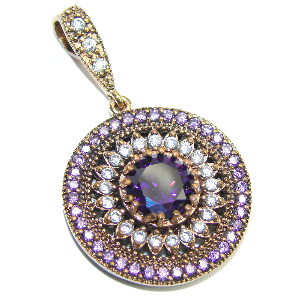 Perfect created Sapphire & White Topaz Sterling Silver Pendant