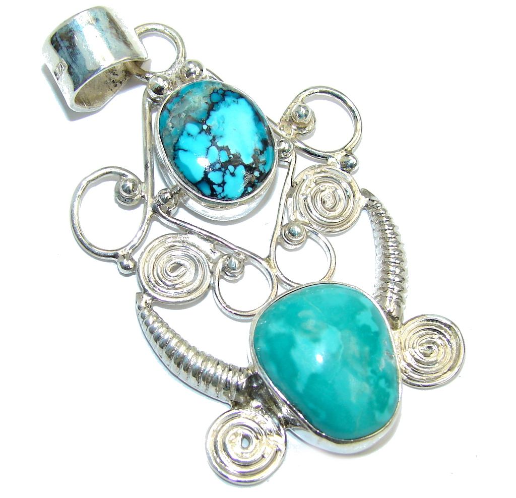 Classic Beauty Blue Turquoise Sterling Silver Pendant