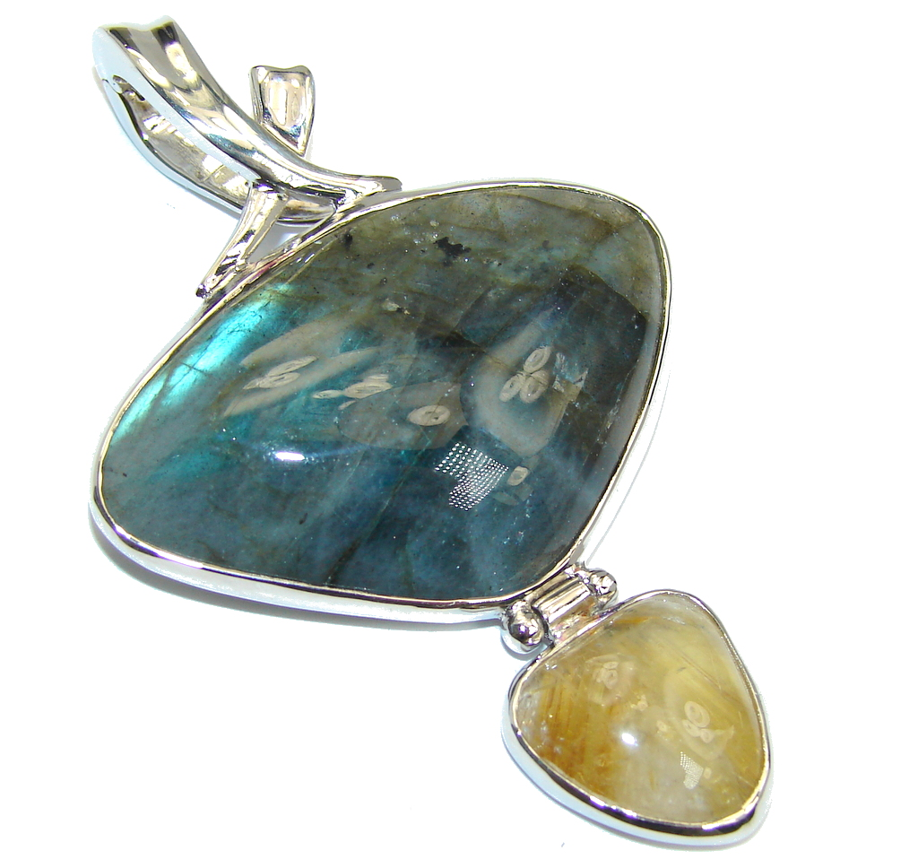 Big Genuine Blue Fire Labradorite & Golden Rutilated Quartz Sterling Silver Pendant