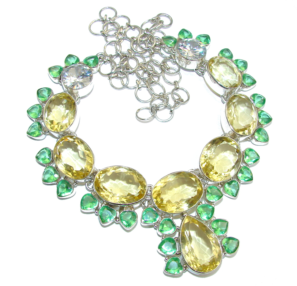New Imopressive Design Yellow Quartz Sterling Silver Necklace