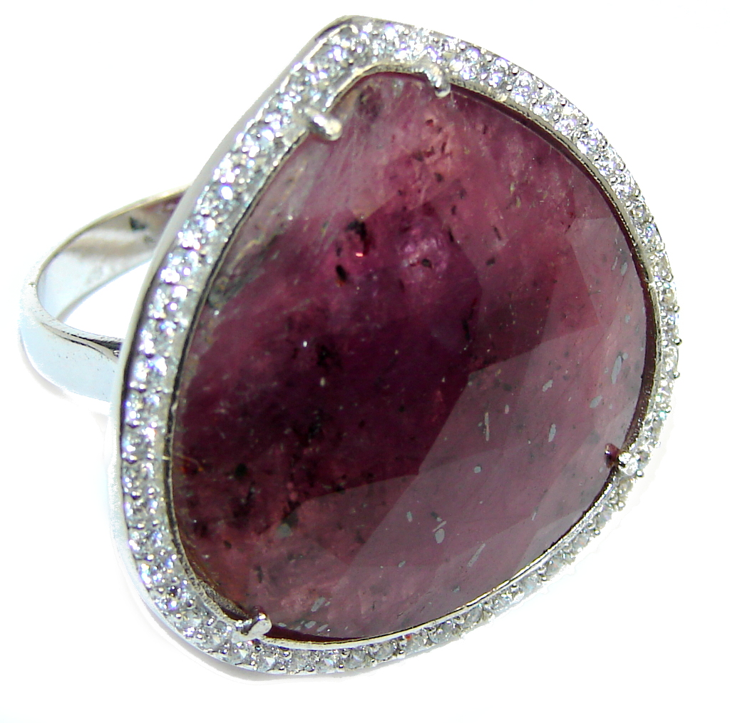 Genuine AAA Pink Ruby & White Topaz Sterling Silver ring; s. 8 1/4