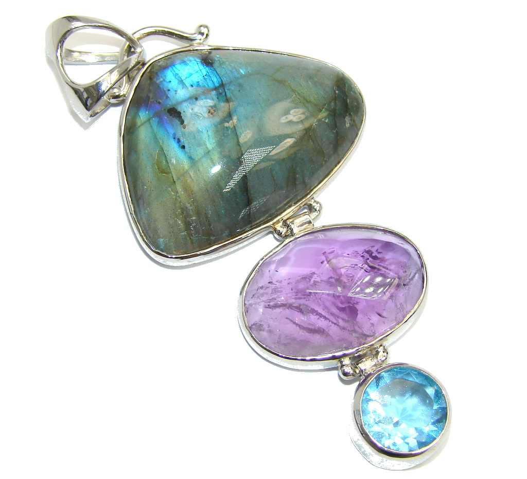 Big Genuine Blue Fire Labradorite & Amethyst  Sterling Silver Pendant