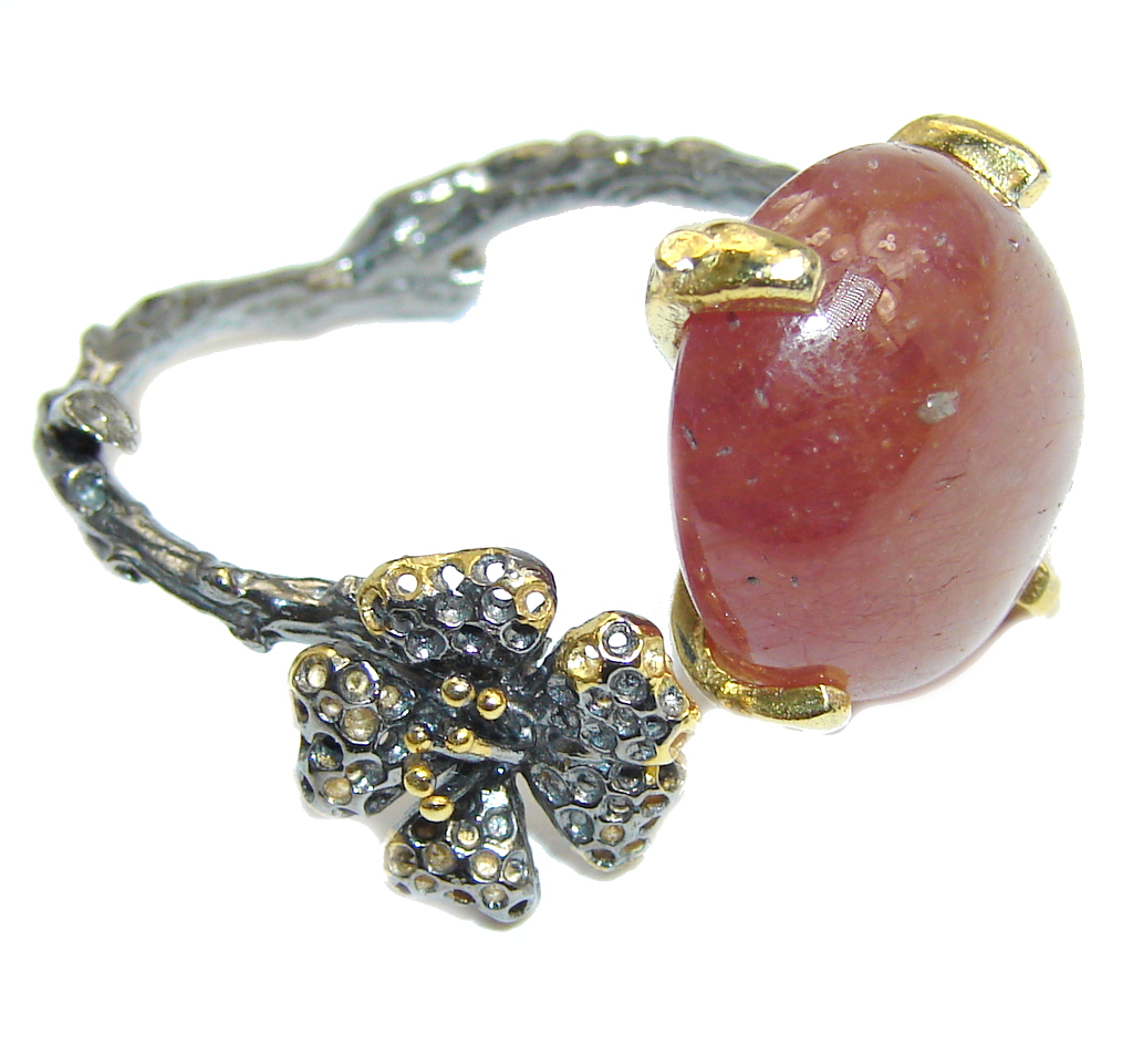Secret Golden Garden Calcite Sterling Silver Ring s. 11 adjustable