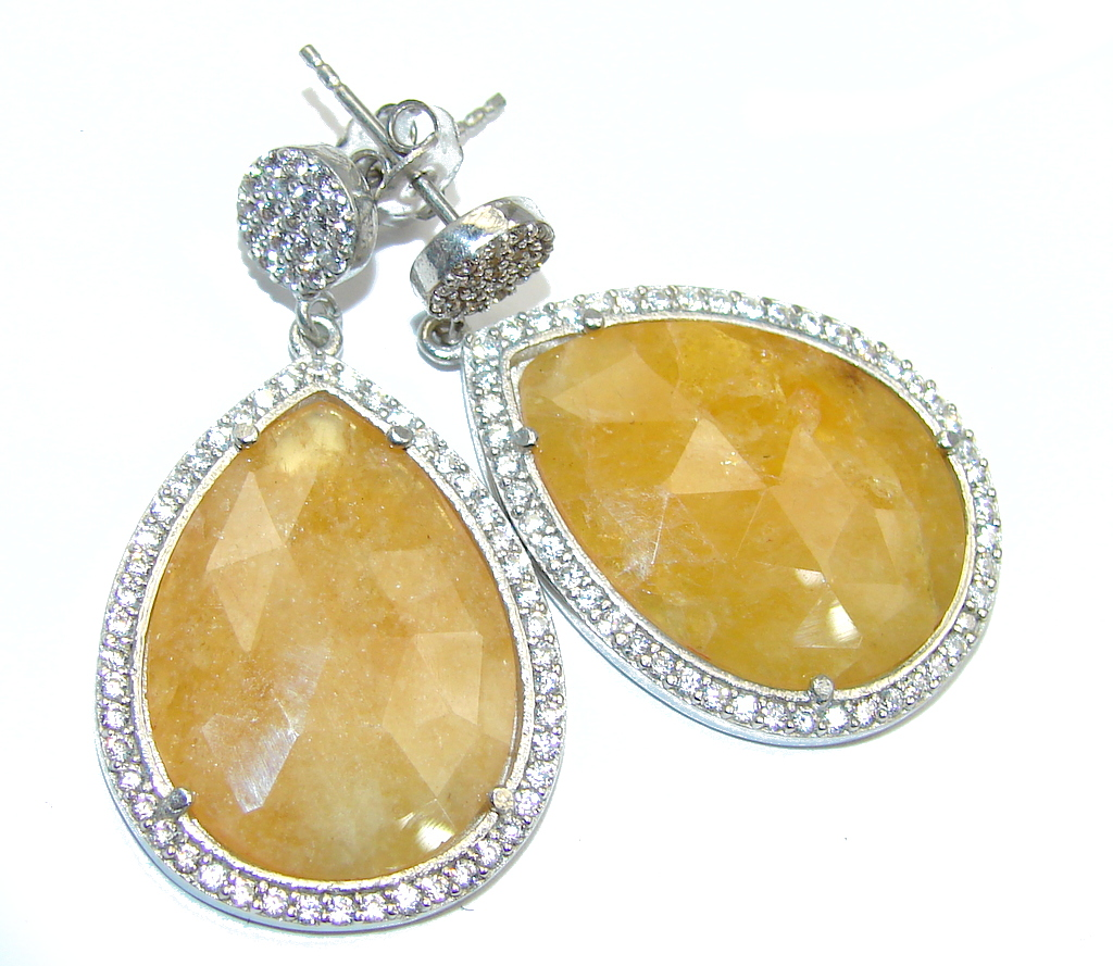 Lucky  Golden Sapphire Sterling Silver earrings