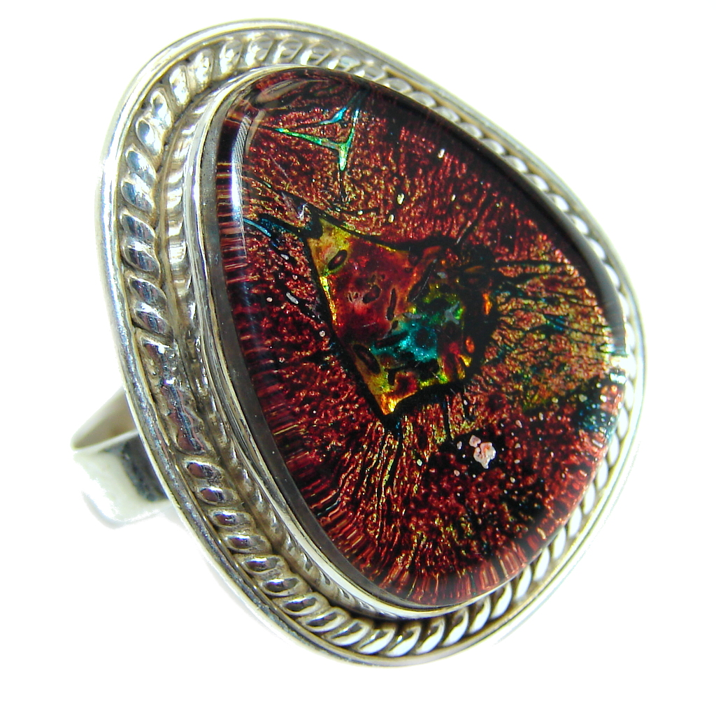 Excellent!! Dichroic Glass Sterling Silver ring s. 10