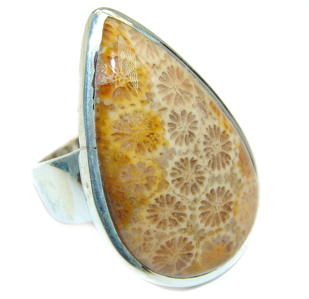 Amazing Brown Fossilized Coral Sterling Silver ring s. 7