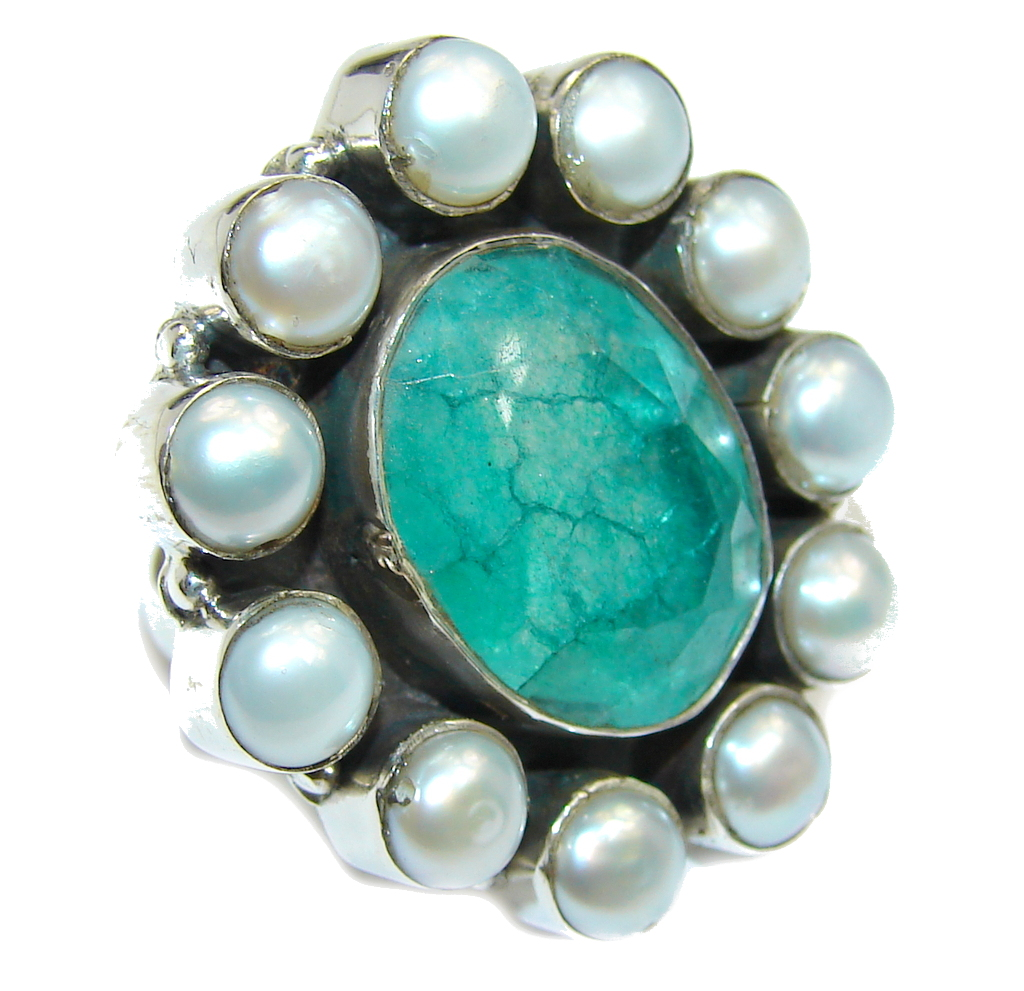 Green Emerald Pearl Sterling Silver Ring s. 7 1/4