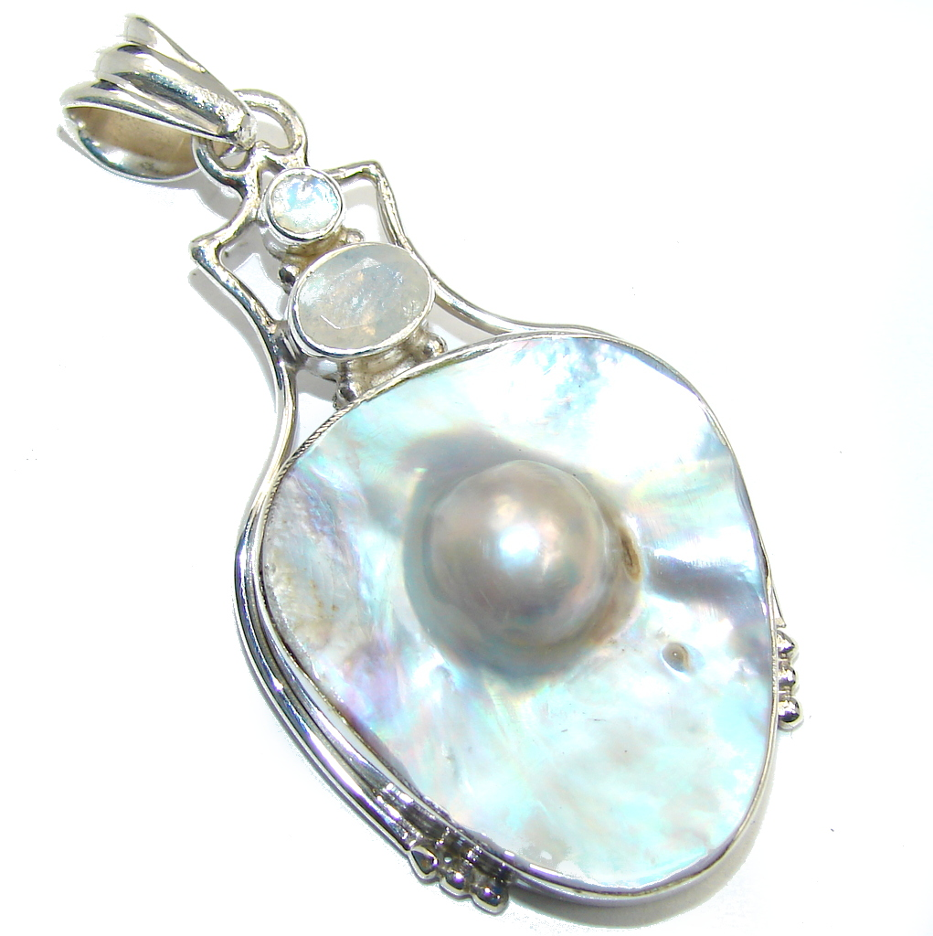 Perfect White Mother of Pearl Sterling Silver pendant