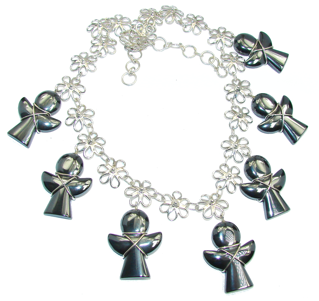 One of the kind Beautiful Angels Hematite Sterling Silver Necklace