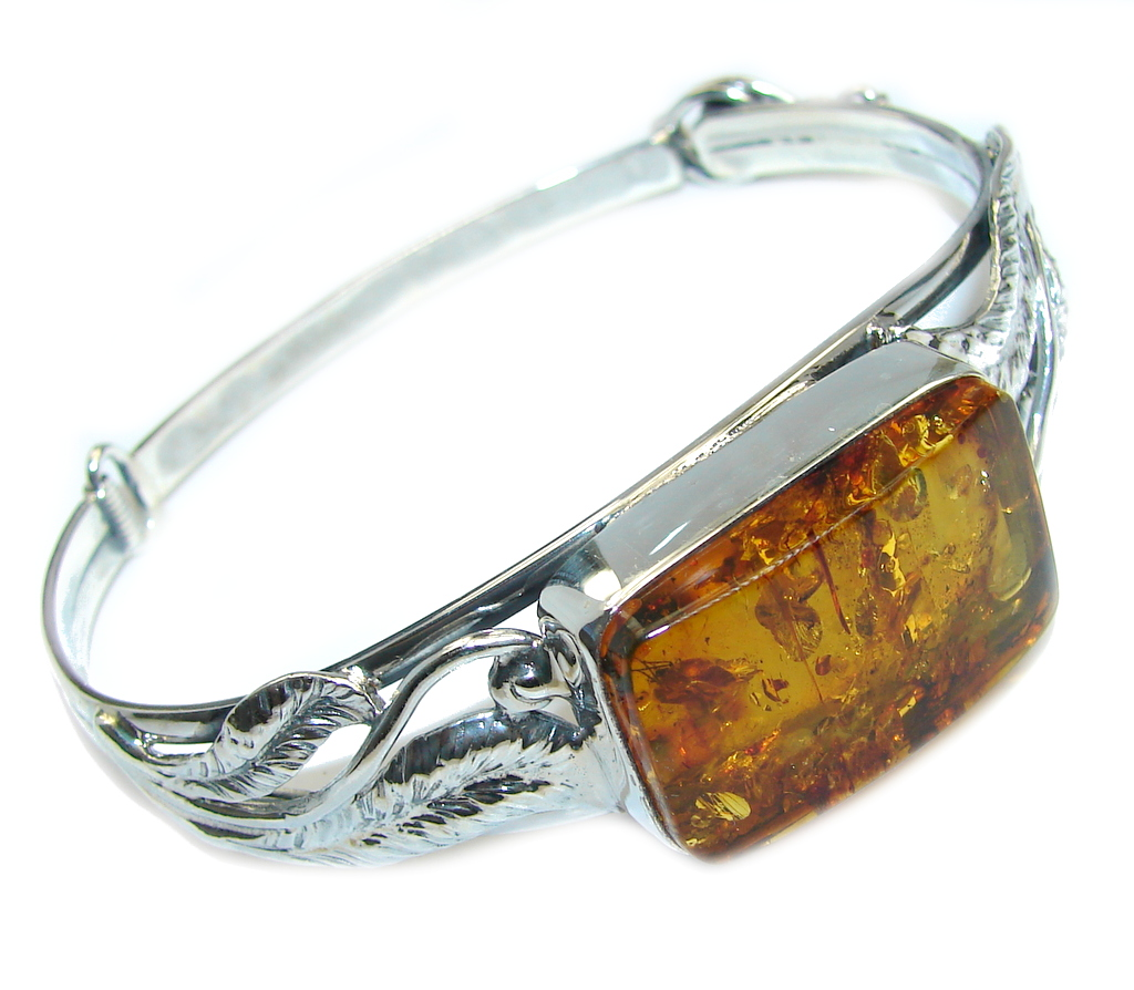 Gorgeous AAA Polish Amber Sterling Silver Bracelet / Cuff