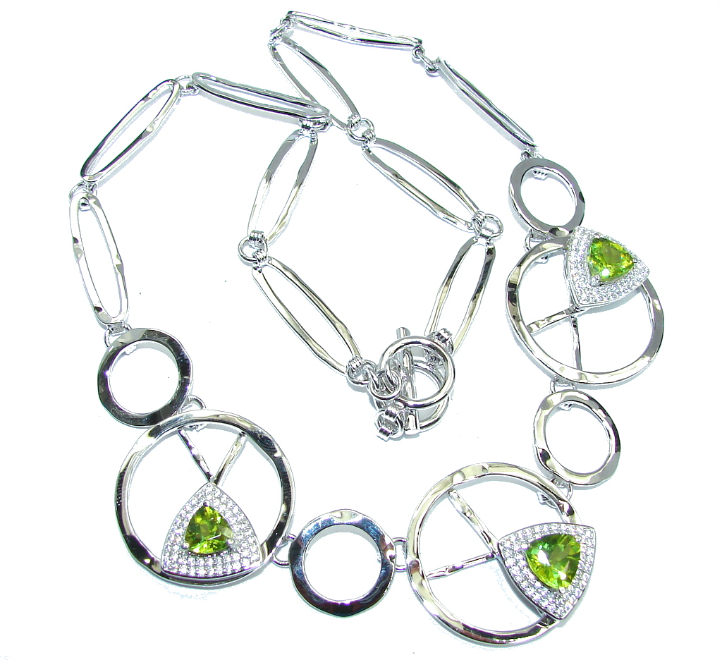 Three Planets Genuine Green Peridot Sterling Silver Necklaces
