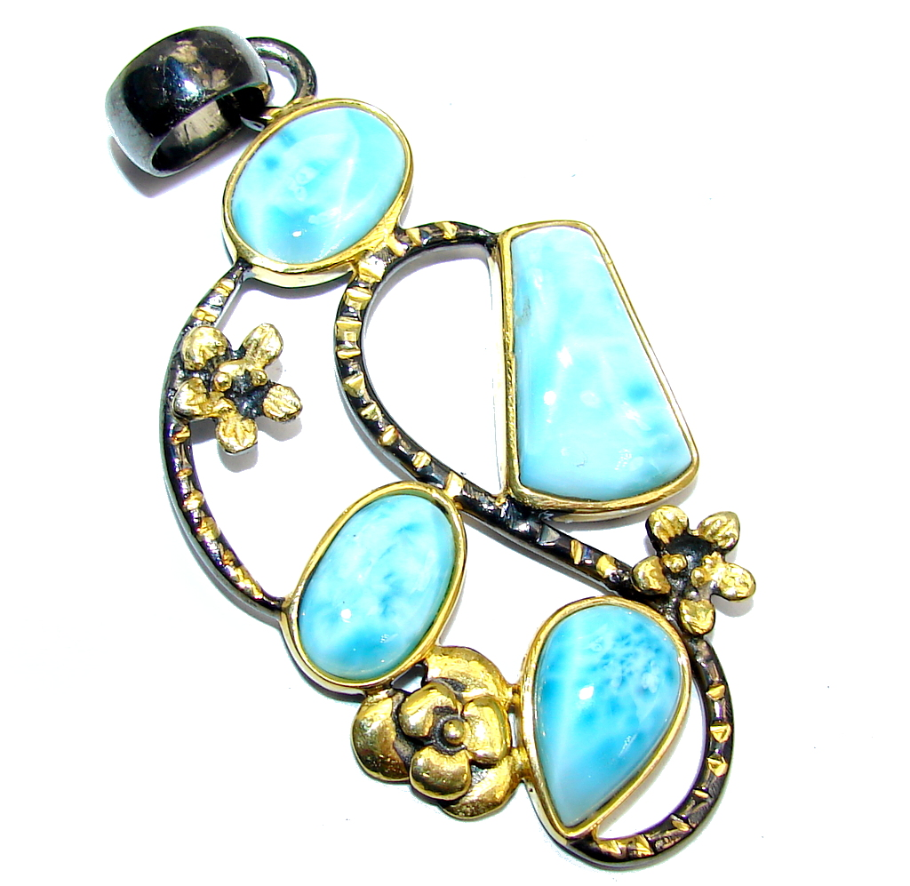Amazing AAA Blue Larimar Gold Rhodium over Sterling Silver Pendant