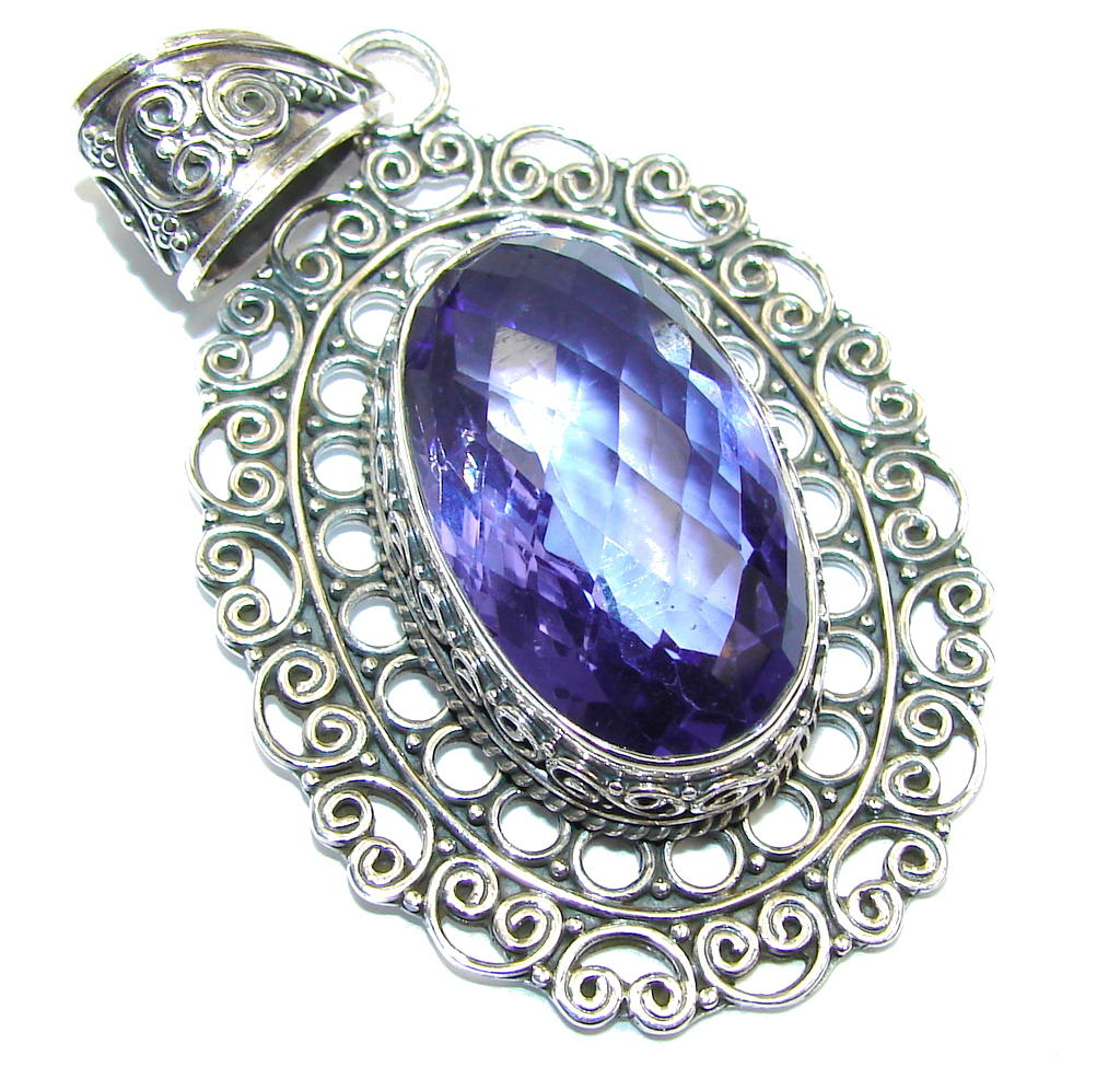 Amazing created Tanzanite color Quartz Sterling Silver Pendant