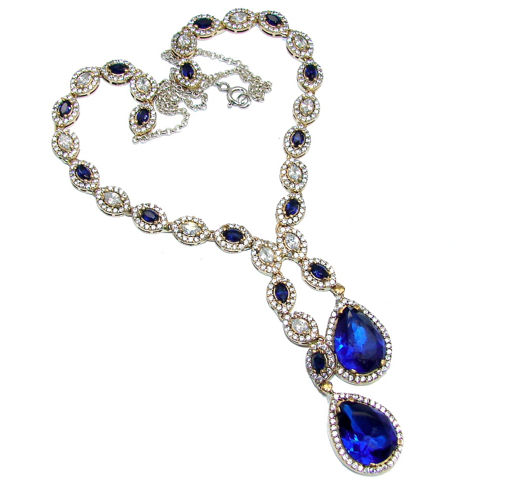 Victorian Style Created Blue Sapphire & White Topaz Sterling Silver necklace