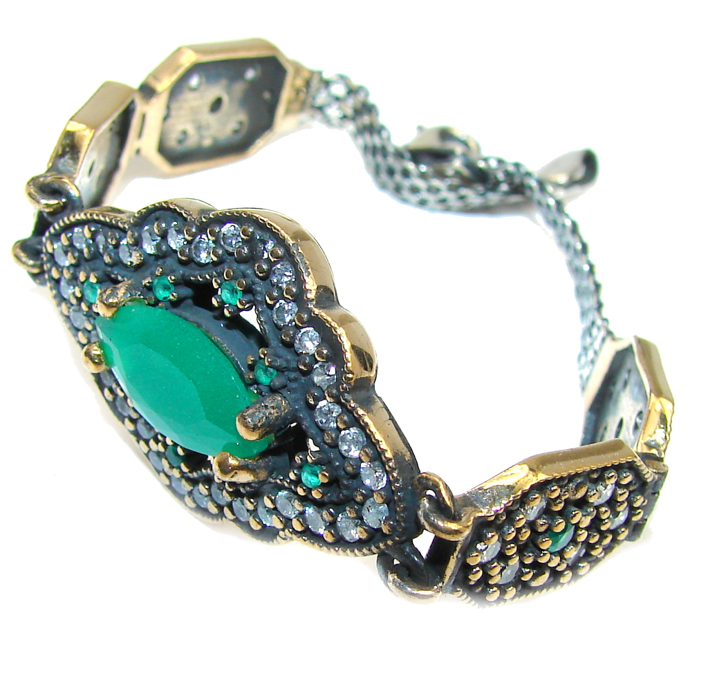Victorian Style created Emerald & Ruby &  White Topaz Sterling Silver Bracelet